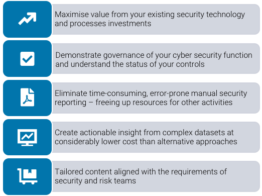 Maximise value from your existing security technology and processes investments, demonstrate governance of your cyber security function and understand the status of your controls, eliminate time-consuming, error-prone manual security reporting - freeing up resources for other activities, create actionable insight from complex data sheets at considerably lower cost than alternative approaches, tailored content aligned with the requirement s of security and risk teams. Cyber security systems from Strata Security Solutions